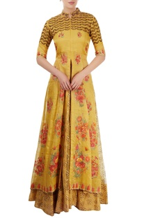 Mustard yellow embroidered lehenga set with hand painting