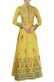 Yellowish green hand painted jacket lehenga