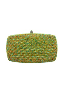 Multi-colored embellished box clutch