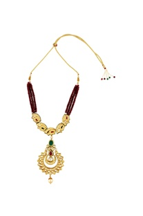 Red beaded necklace with gold pendant