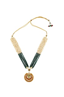 Green & white beaded necklace with pendant