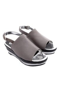 Grey wedges with paneled heel