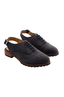 Grey oxfords with strappy buckle