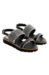 Black & white woven strap sandals