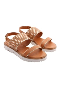 Light brown & gold woven strap sandals