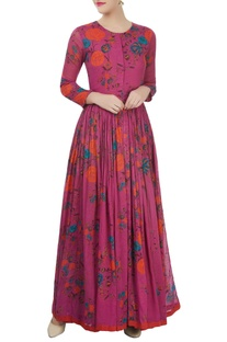 Pink printed dress with a gathered waist
