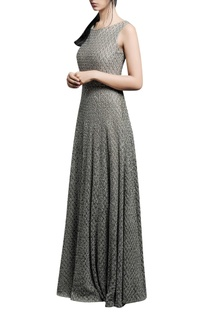 Light green gown with pearl embellishments