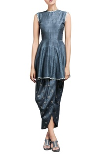 Metallic blue kurta & draped pants