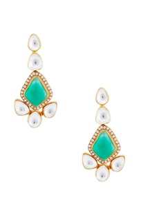 Green onyx earrings with kundan crystals