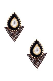 Black earrings with enamel work