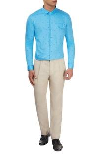 Blue motif print shirt