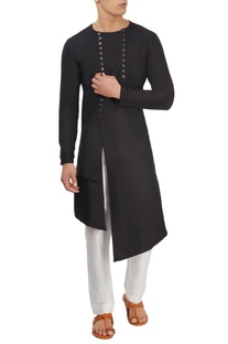 Black asymmetric long kurta