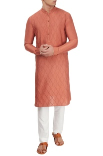 Rust embossed kurta