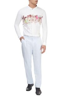 Pastel blue single pleat trousers