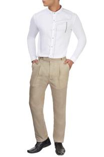 Beige single pleat trousers