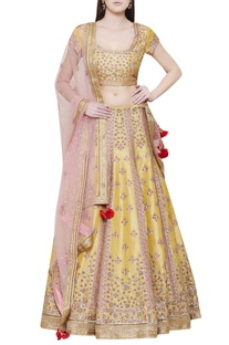 Yellow lehenga set with pink dupatta