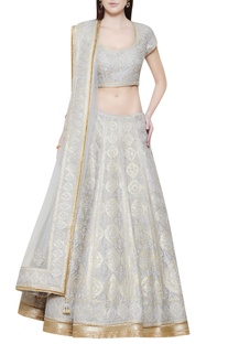 Silver grey lehenga set with embroidery
