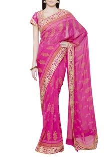 Pink sari with gota work