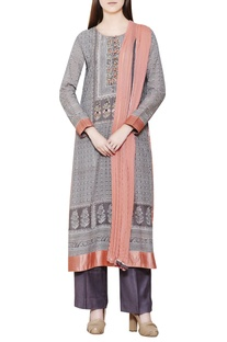 Grey block printed kurta set