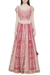 Gold pink thread embroidered lehenga