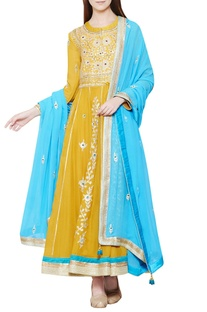 Yellow & blue embroidered anarkali set
