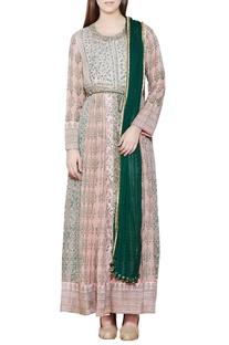 Light pink & green embroidered anarkali set
