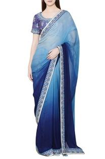Blue ombre zardozi sari