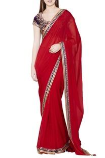 Maroon zardozi embroidered sari