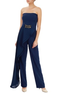 Navy blue tube jumpsuit