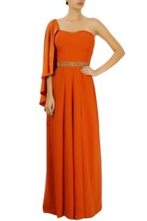 Orange pleated one shoulder jumpsuit
