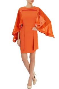 Orange dress with embellished sleeves