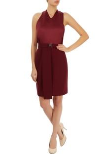 Wine red halter neck dress