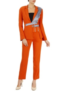 Orange pant suit set