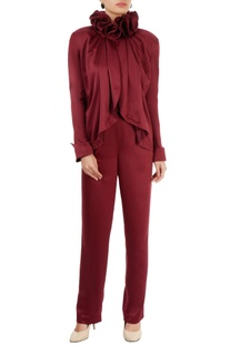 Wine red ruffle top & trousers