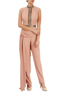 Peach crop top & trousers with drape