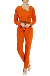 Orange asymmetric top & trousers