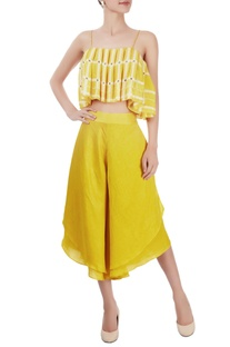 Canary yellow crop top & culottes
