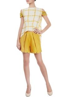 White checkered top & mustard eyelet shorts