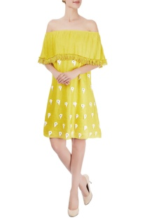 Canary yellow off-shoulder dress