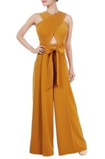 Ochre yellow criss-cross jumpsuit