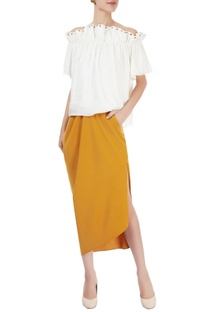 White off-shoulder top & ochre midi skirt
