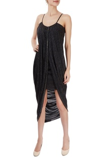 Metal grey wrap midi dress
