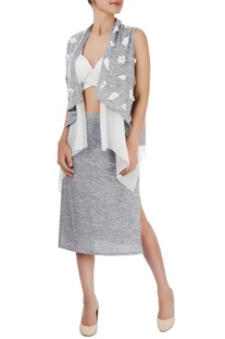 White bralette & grey skirt with a layered throw
