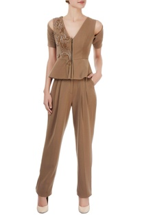 Brown peplum top & pleated trousers