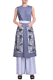 Bluish grey kurta set with sequins embroidery