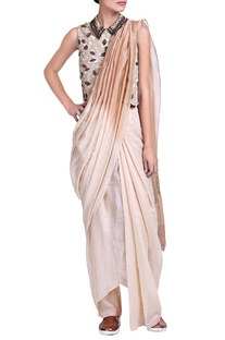 Brown & cream shaded pant sari with sequins detailed blouse