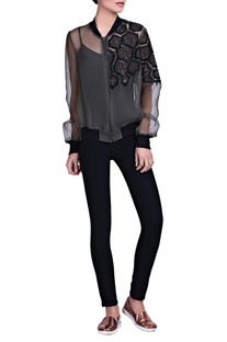 Grey sequined embroidered jacket