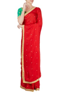 Green & red embroidered sari