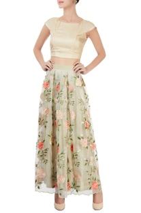 Beige & light green embroidered skirt set