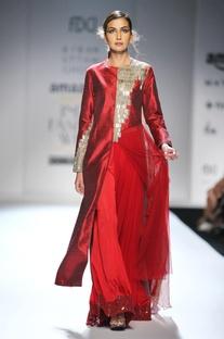 Red long kurta with palazzo pants